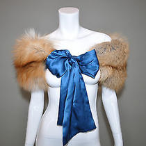 Yves Saint Laurent Red Fox Fur Shawl Bolero W/ Blue Silk Ribbon Photo