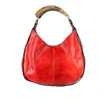 Yves Saint Laurent Red Leather Mombasa Tote Hand Bag  Photo