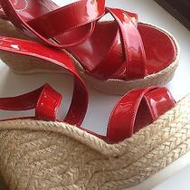 Yves Saint Laurent Red Patent Leather Wedges Photo