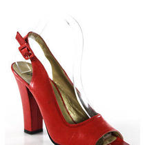 Yves Saint Laurent Red Peep Toe Slingback Chunky Heel Pumps Sz 8 Photo