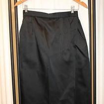 Yves Saint Laurent Rive Gauche Black Silk Satin Skirt Mock Wrap Mini Evening Ysl Photo