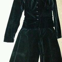 Yves Saint Laurent Rive Gauche Black Velvet Jacket and Flare Pants w's Size 8 Photo