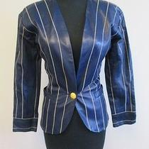 Yves Saint Laurent Rive Gauche Blue Striped Leather Lined Jacket Size 34 Q198 Photo
