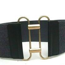 Yves Saint Laurent Rive Gauche Herringbone Stretch Wide Waist Belt Size 75 Us 30 Photo