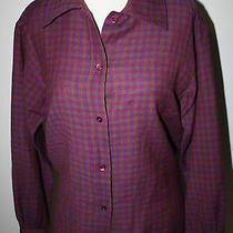 Yves Saint Laurent Rive Gauche Magenta Purple Plaid Ls Wool Shirt Blouse 6 8 M Photo