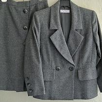 Yves Saint Laurent Rive Gauche Ysl Gray Wool Timeless Skirt Suit-40-Parisfrance Photo