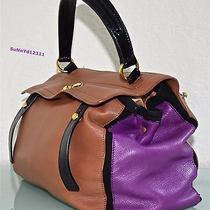 Yves Saint Laurent Satchel Muse Two Leather Brown Black Purple Tote Ysl Bag Euc Photo