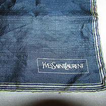 Yves Saint Laurent Scarf Scalloped Edge Navy Blue Handkerchief Photo