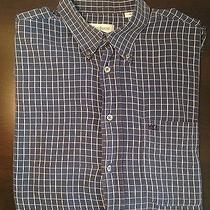 Yves Saint Laurent Shirt Pour Homme 100% Cotton Long Sleeve M Blue White Photo