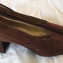Yves Saint Laurent Shoes Vintage  Sz 7.5n Pumps Heel Brown Suede Italy Classic Photo