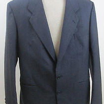 Yves Saint Laurent Size 40r Navy Blue Wool Blazer Subtle Pinstripes Nice Photo