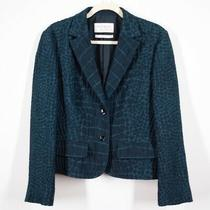 Yves Saint Laurent Snake Embossed Wool Silk Blazer Size Large Green Blue Jacket Photo