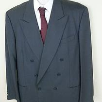 Yves Saint Laurent Solid Gray Double Breasted Suit Jacket 44l 100% Wool France Photo