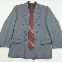 Yves Saint Laurent Solid Gray Mens 40r Double Breasted Suit Jacket Free Silk Tie Photo