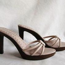 Yves Saint Laurent Strappy Beige/blush Leather Wood Platform Clogs Mules 38 Photo