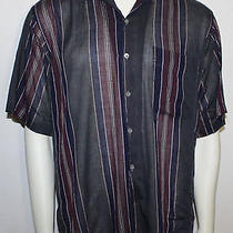 Yves Saint Laurent Stripe Sheer Short Sleeve Shirt L  Used Worn Vintage  Photo