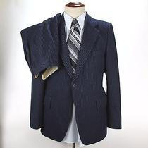 Yves Saint Laurent Suit 2 Pc Navy Blue Striped 36s Jacket 30x31 Trousers Wool Photo