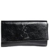 Yves Saint Laurent Textured Patent Large Belle De Jour Clutch Black Photo