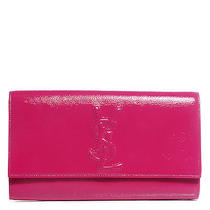 Yves Saint Laurent Textured Patent Large Belle De Jour Clutch Fuchsia Photo