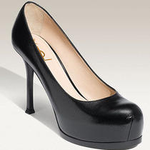 Yves Saint Laurent Tribtoo 2 Hidden Platform Pumps Size 39 Black Patent Saffiano Photo