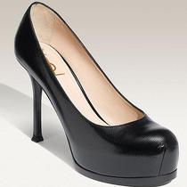Yves Saint Laurent Tribtoo 2 Hidden Platform Pumps Size 39 Black Patent Saffiano Photo