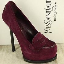 Yves Saint Laurent Tribtoo Purple Suede Loafer Pumps Size 35 Ysl High Heels 625 Photo
