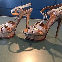 Yves Saint Laurent Tribute High Heel Sandal in Gold Metallic Leather Photo