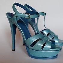 Yves Saint Laurent Tribute Sandals Blue Patent Leather 39 / 9  Photo