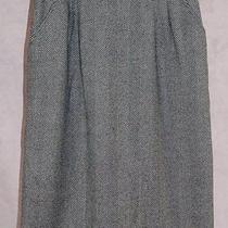 Yves Saint Laurent Variation Pencil Skirt 42 Gray Herringbone Wool Photo