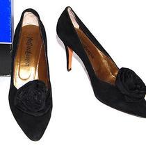 Yves Saint Laurent Vintage Black Taffeta Rosette Suede Pumps 10 Photo