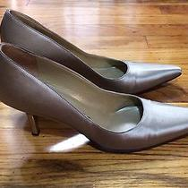 Yves Saint Laurent Vintage Silk Pumps Metal Heels 9 N Retro Pinup Office Shoes Photo