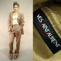 Yves Saint Laurent Vtg 70s Brown 2pc Suit Coat Jacket Tweed Wool Pants Trousers Photo