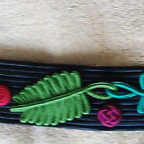Yves Saint Laurent Vtg Belt Silky Fabric Applique Leaves Stunning Ysl Belt Photo