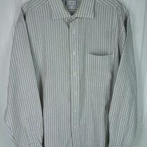 Yves Saint Laurent White Tan Blue Stripe Button Up Shirt 16 34-35 Photo