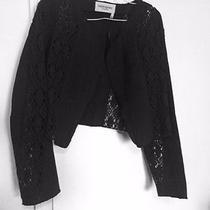 Yves Saint Laurent Woman's Charcoal Jacket 100% Cotton Solid and Lace S-M-L Photo