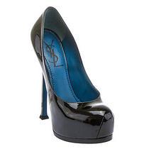 Yves Saint Laurent Womens Black Patent Leather Tribute Too 105 Platform Pump... Photo