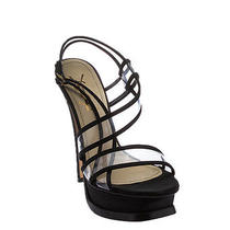 Yves Saint Laurent Womens Black Satin & Pvc Platform Slingback Sandals Size... Photo