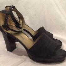 Yves Saint Laurent Womens Ankle Strap Sandals Heels Shoes Size 8 M Black Photo