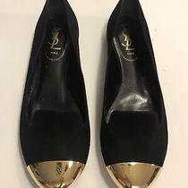 Yves Saint Laurent Womens Cap Toe Suede Flats Black Gold Size 38 Photo