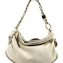 Yves Saint Laurent Womens Gold Tone Ring Hobo Tote Handbag Beige Leather Photo