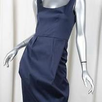 Yves Saint Laurent Womens Navy Blue Cotton Sleeveless Sheath Dress 34/0 Xs Photo