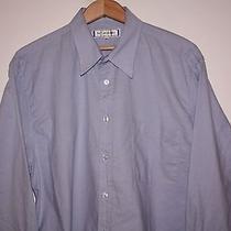 Yves Saint Laurent Ysl 42 Long Sleeve Button Front Cotton Blue Shirt Mens 16.5 Photo