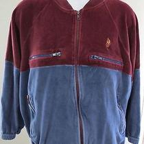 Yves Saint Laurent Ysl Activewear Large Maroon Blue Velour Track Jacket Mens 35 Photo