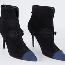 Yves Saint Laurent  Ysl Black Blue Suede Pointed Toe Ankle Boots Sz 38.5 Nwd Photo