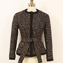 Yves Saint Laurent Ysl Black Brown White Tweed Belted Jacket Blazer 36 4/6 Photo
