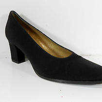 Yves Saint Laurent Ysl Black Fabric Pumps Heels Italy Womens 7.5 7  M Vguc Photo