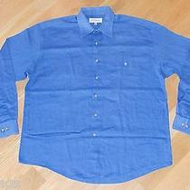Yves Saint Laurent Ysl Blue Casual Dress Shirt Mens Sz L Large 16 1/2 34-35 Photo