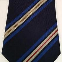 Yves Saint Laurent Ysl Blue Diagonal Striped Necktie Mens Tie Photo