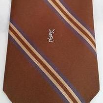 Yves Saint Laurent Ysl Brown Diagonal Striped Necktie Mens Tie Logo Photo