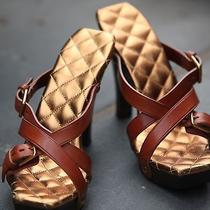 Yves Saint Laurent (Ysl) Camel Leather and Wood Sole Sandal/pumps Photo